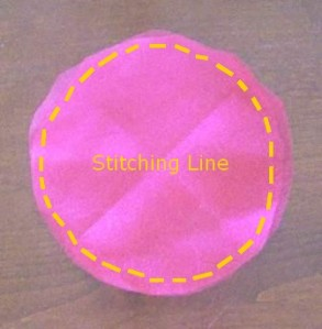 Fabric circles showing Stitching Line