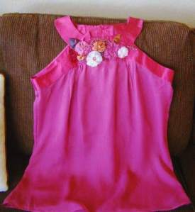Rose Silk Top with Embellishments