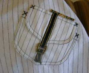Striped Skirt Front Pocket