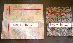 Three fabric rectangles showing dimensions