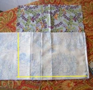 Step 8: Lay pocket fabric flat on inside cover and sew along yellow line