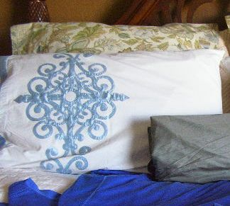 Pillows and Dupioni with Royal Blue