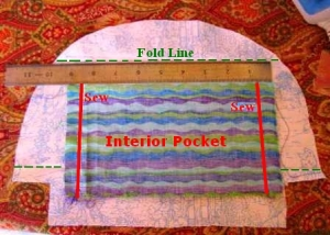 Step 2:  Lining with Fold Lines and Pocket ready for sewing