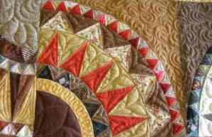 "Three Generation Quilt Detail of 1/2"" triangles"