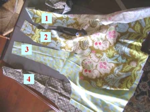 Boho Bag:  4 pattern pieces cut and ready to sew