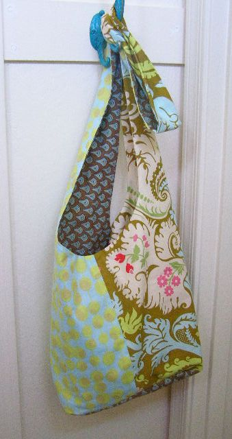 "Completed Boho Sling Bag - the blue green fabric is a ""Fat Quarter"""