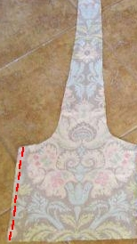 6.  Sew two lining pieces together along ONE side seam
