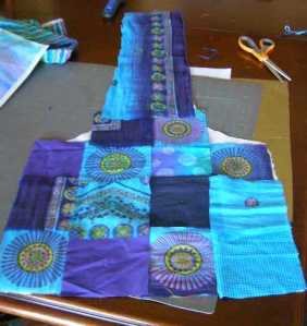4. Lay out squares and fabric for handle - and then take photo!