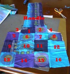 7.  Squares numbered in the order in which they are sewn