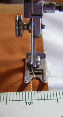 Using Pressure Foot as Seam Allowance Guide