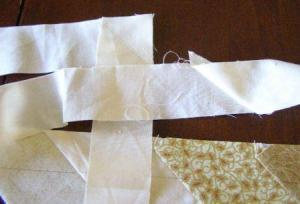 8.  Piecing border fabric together