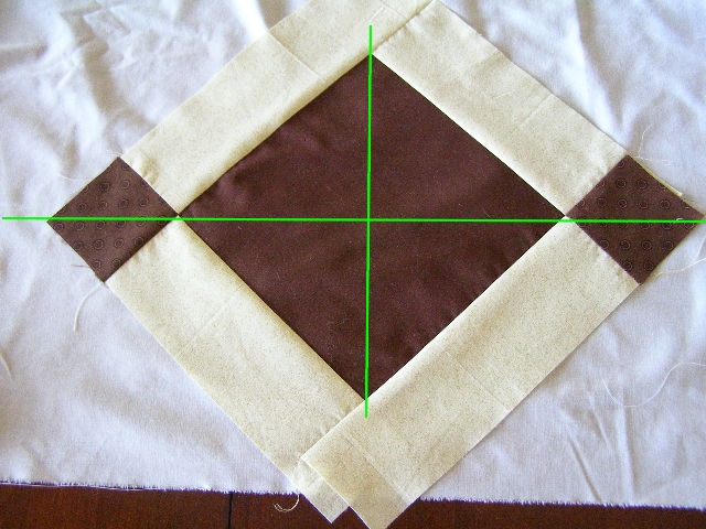 aa Daa!  First Row Done!  Points of Squares should align with foundation creases!