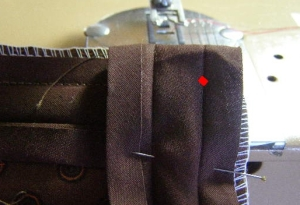 5.  Start sewing a red dot to form a perfecdt 90 degree corner!