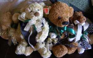 Ribbons from my Stash, Teddy Bears from my daughter's.