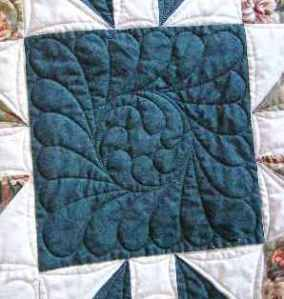 Dark green square beautifully quilted