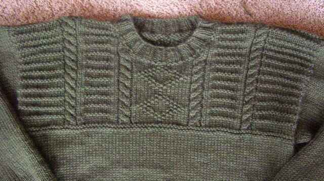 Guernsey Sweater Yoke Detail