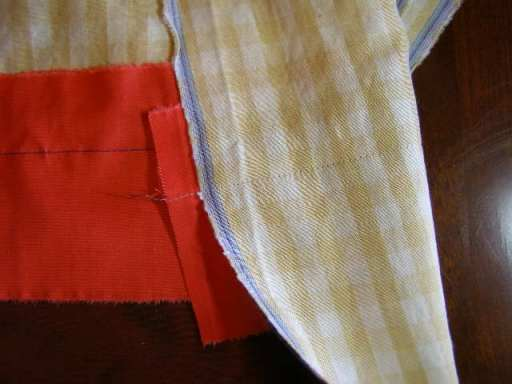 Seam from both design and Foundation Fabric (stitching) sides