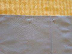 First Stripe Fabric pinned to Foundation Fabric