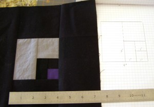 Log Cabin Variation 2 - Purple square and all!