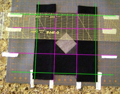 Pink Lines - seam lines for center design square.  Green Lines - trim lines.