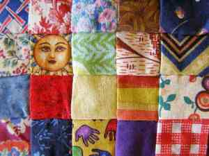 Detail showing fabrics used for squares