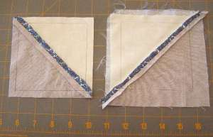 "4"" square drawn on back and unit trimmed to 3/8"" seam allowance"