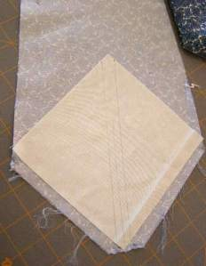Foundation square on top of tie fabric
