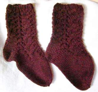 Kamura Bedroom Socks:  cable and lace pattern.