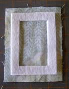 Photo 3:  Frame web-fused to smaller fabric rectangle.
