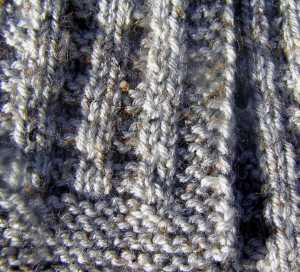 Waffle Scarf showing garter stitch borders.