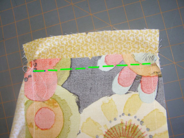 Sewing line to sew Base to Ends.