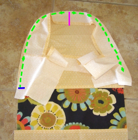 Pin and sew Top to curved edge of Side.