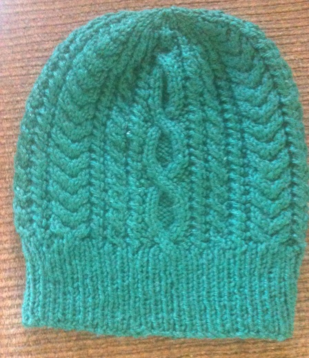 Green Cabled Hat - heavy worsted