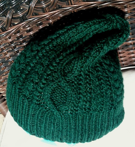 Green Cabled Hat: Stash Cashmere and Wool Yarn