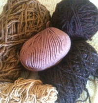 Acrylic, Cascade 200 Superwash, Dark Brown Acrylic with Gold Thread, Gold Cabled Cotton and Medium Brown Cotton/Microfiber