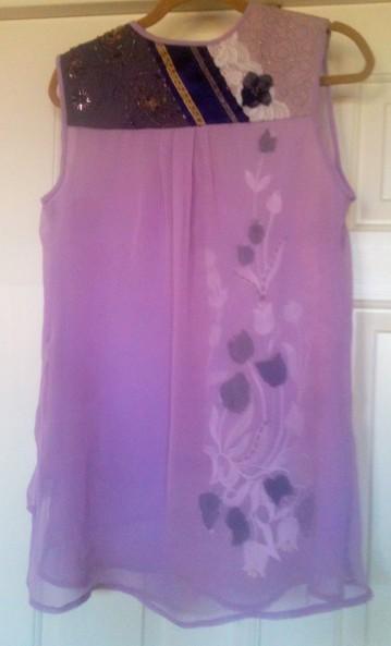 Shadow Embellished Silk Top - Back