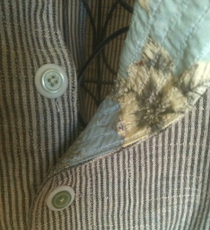 Striped Linen and Buttons from The Stash. Lining is a new purchase.