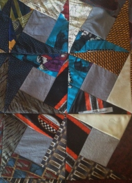 Elvis (turquoise) and Harley Davidson ties in the quilt top