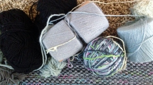 Yarns used to knit scarf.