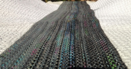 8 Feet of Linen Stitch in grey, black and handpainted yarn!.